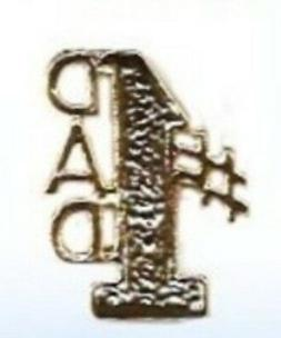 #1 DAD Script Lapel / Hat Pin Gold Plate Great Fathers Day G
