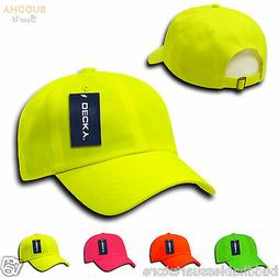 1 Dozen Decky Neon Pre Curved Bill 6 Panel Low Crown Dad Hat