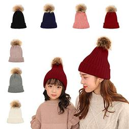 2 PCS Parent-Child Hat Warmer,Mother & Baby Boys/Girls Famil
