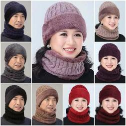 2pc Ski Hats Scarf Winter Hat Women Men Knitted Hat Bonnet W