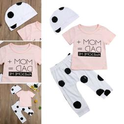 3PCS Newborn Baby Boy Girl Outfits Clothes Letter T-shirt To