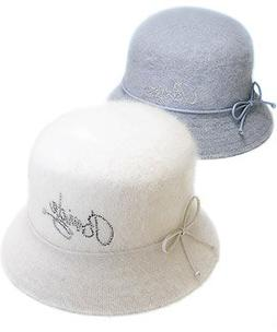 Weddingstar 7135 Bride Angora Down Brim Hat- Winter Blue
