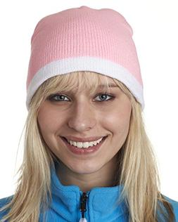 ULTRACLUB 8132 Two-Tone Knit Beanie - One Size - Pink/ White