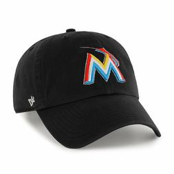 Miami Marlins 47 Brand Clean Up Adjustable Field Classic Bla