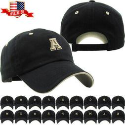 ABC Letter Embroidery INITIAL Black Dad Hat Baseball Cap Adj