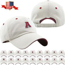 ABC Letter Embroidery INITIAL Ivory Dad Hat Baseball Cap Adj