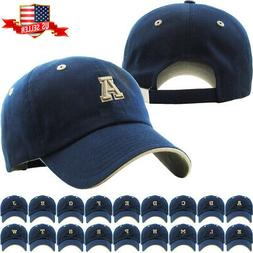 ABC Letter Embroidery INITIAL Navy Dad Hat Baseball Cap Adju