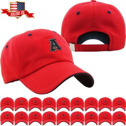 ABC Letter Embroidery INITIAL Red Dad Hat Baseball Cap Adjus