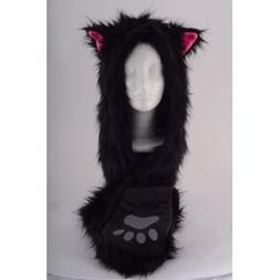 Full Animal Hoodie Hat Faux FUR Black Kitty 3-in-1 Function