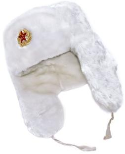 Authentic Russian Winter Hat Ushanka White-64, with Soviet s
