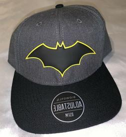 BIOWORLD BATMAN SNAPBACK HAT BAT LOGO BLACK AND YELLOW DC CO