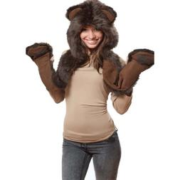 Brown Bear Full Animal Hood Hoodie Hat Faux Fur 3 in 1 Funct