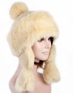 S Cloth Beige Rabbit Fur Winter Mongolian Hats Women Trapper