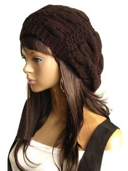 Women Beret Braided Baggy Beanie Crochet Knitting Warm Winte