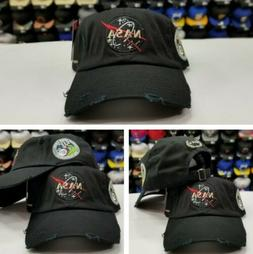 BLACK DISTRESSED NASA Brand By Field Grade DAD Hat Snapback