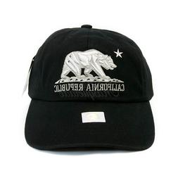 BLACK Embroidery 'CALIFORNIA REPUBLIC' BEAR Dad Hat Baseball