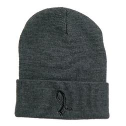 Black Ribbon Skin Cancer Embroidered Long Beanie - Grey OSFM