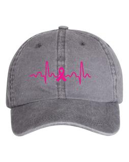Breast Cancer Heartbeat Dad Hat Cap Hats New - Grey Pigment