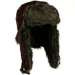 Red Buffalo Plaid Faux Fur Bomber Trapper Hat