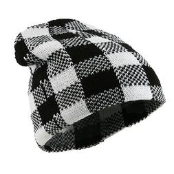 Buffalo Plaid Short Beanie - White Black