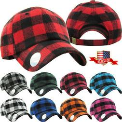 Buffalo Plaid Curved Visor Baseball Cap Dad Hat Polo Style L