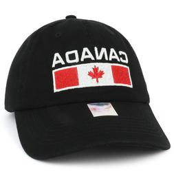 Canada Text and Flag Embroidered Cotton Soft Crown Dad Hat -