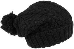 Nirvanna Designs CH509 Cable Knit Slouch Hat with Pom Pom an
