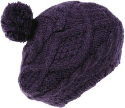 Nirvanna Designs CH701 Wide Cable Beret with Fleece and Pom,