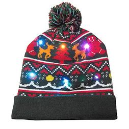 GREFER Christmas Hats, Beanie Hairball Warm Cap Gifts Merry