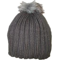 Urbanology Womens Chunky Gray Knit Beanie Winter Hat with Fa