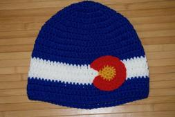 Colorado Flag Crochet Hat - Adult One Size