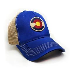 Colorado Local, Circle Flag Trucker Hat, Structured, Royal B