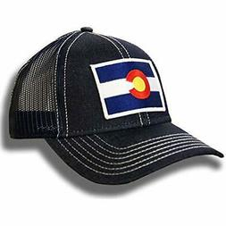 Strange Cargo Colorado Flag Cap Navy and Grey Snap Back Flat Brim Baseball Hat