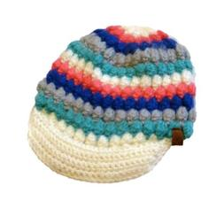 Ocean Pacific Womens Colorful Knit Newsboy Hat Ivory Blue Pi