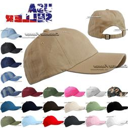 Cotton Baseball Cap Hat Polo Style Adjustable Washed Solid P