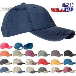 Baseball Hat Washed Cotton Cap Solid Adjustable Polo Style D