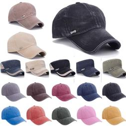 Flexfit Hat Baseball Cap Washed Style Plain Adjustable Blank