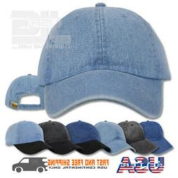 Dad Solid Plain Washed Denim Cotton Polo Style Baseball Cap