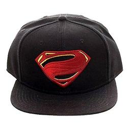 DC Justice League Superman Logo Black Snapback Hat NEW Baseb