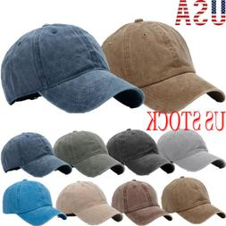 Denim Hat Baseball Cap Washed  Style Plain Adjustable Blank