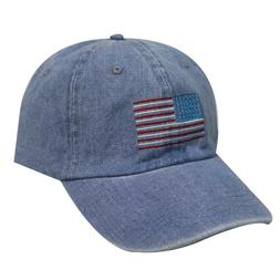 City Hunter Denim USA FLAG Dad Hat Cap Blue Strapback Baseba