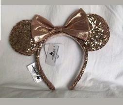 Disney Parks Rose Gold Minnie Mouse Ears Headband New with T