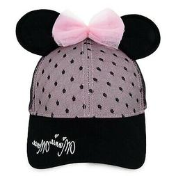 DISNEY Sweet Minnie Mouse Ears Baseball Cap for Women Pink a