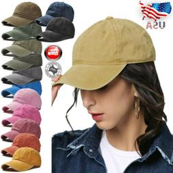 Distressed Solid Cotton Vintage Baseball Ball Cap Hat Dad Ad