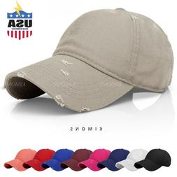 more photos 72b35 a840d Distressed Solid Cotton Vintage Baseball Ball Cap Hat Dad Ad