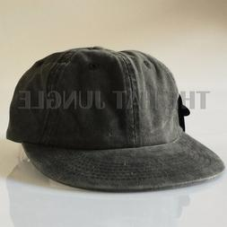 Dyed Black Plain Unstructured Dad Hat Buckle Strapback Cap F