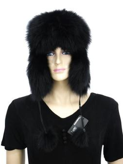 Women's Fur Trapper hat with Pompoms-Black