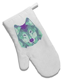 TooLoud Geometric Wolf Head White Printed Fabric Oven Mitt