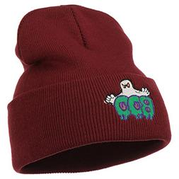Halloween Ghost Boo Embroidered Long Beanie - Maroon OSFM