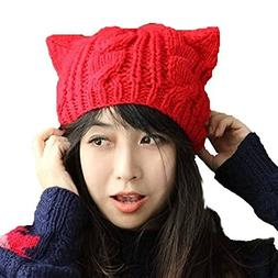Wowlife Women Girl's Hat Cat Ear Crochet Braided Twist Knit